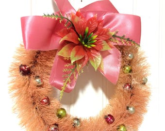 "Vintage 8"" Pink Bottle Brush Wreath"