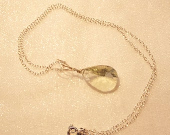 Green Amethyst Sterling Silver Pendant and chain
