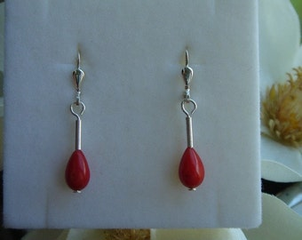 925 earrings with coral and silver!