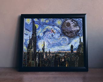 """STAR WARS Van Gogh """"A Starry Wars Night"""" Art Print - Wall Art, Home Decor, Painting, Gift for Her, Gift for Home, Gift for Him, Pop Art"""