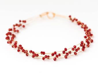 40_Beads hair accessory, Red bridal hair piece, Crystals red headband, Beaded crystal headband, Crystal crown, Bridal hair piece, Crystals.