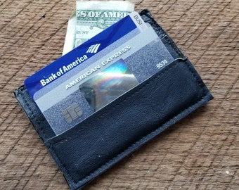 Blue Leather Card and Cash Holder