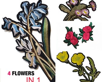 Iron On Embroidered Flowers Roses Patches Appliques 4 PCS