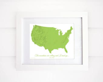 Mountains of the US, John Muir, Mountains Map Print, Mountain Art, The Mountains are Calling!