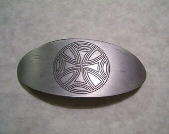 Large Etched Aluminum Celtic Barrette