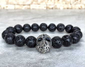 925 Sterling Silver Jason Voorhees Bracelet, Friday The 13th, Jason Bracelet, Bracelet For Men, Friday 13th, Gift For Him, Hockey Mask