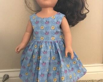 "18"" Doll Blue, Purple, Yellow Flower Everyday Dress"