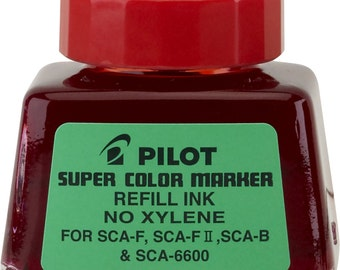 Red Pilot Refill Ink 1 Ounce Bottle with Dropper for Pilot Super Color Markers; Waterproof Ink, Xylene-Free
