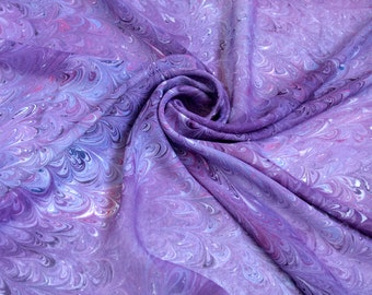 Violet marbled silk scarf Hand dyed scarf Ultra violet Square scarf  wife Gift Purple scarf Gift for sister Marbled silk scarves