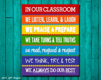 Classroom Decor.  Rainbow Classroom Rules Sign. Classroom Teacher Gift. Teacher Appreciation. In This Classroom. Teacher Gift. Classroom Art