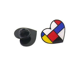 Mondrian Heart Enamel Pin Lapel Pin
