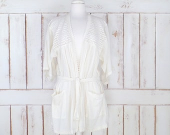 Vintage light ivory/off white gauzy cotton crochet lace kimono cover up top/swimsuit beach cover up/festival boho gypsy cardigan