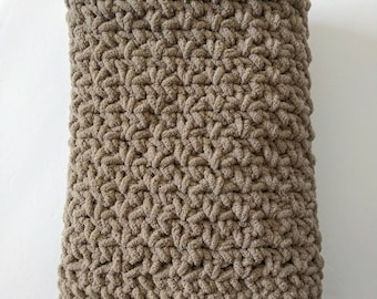 Simple neutral toned crochet small baby blanket/mini throw