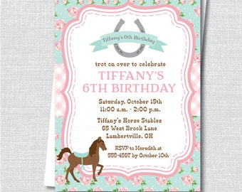 Cowgirl party pony party invitation petting zoo horse pink and blue floral horse birthday invitation horse party pony party horseback invite digital design or handcrafted free shipping stopboris Image collections