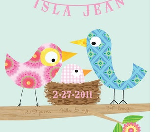 Personalized - Baby Girl Bird  Art Print 11x14