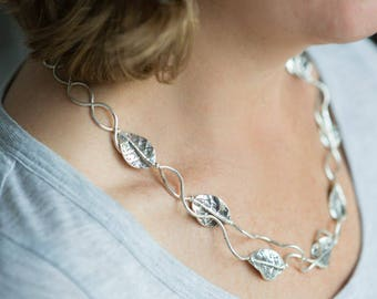 Sterling Silver Leaf Necklace. silver necklace, unusual jewellery, silver jewellery, silver jewelry, unusual necklace