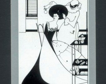 Aubrey Beardsley Playing Cards - Black, White, Grey - Collage, Mixed Media