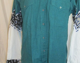 Mens Vintage Ruddock Bros Button Down Southwestern Style Shirt Vintage Cowboy Shirt Rancher Shirt Green/White 1990s 90s Sz XL