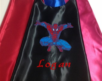 Super Hero Cape,  Kid's Cape, Superhero, Costume Cape,  Embroidered Spiderman Personalized with Name