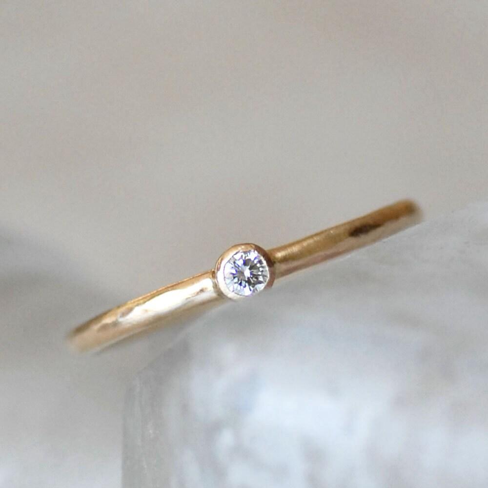 Diamond Engagement Ring 2.5mm Diamond Gold Ring Diamond