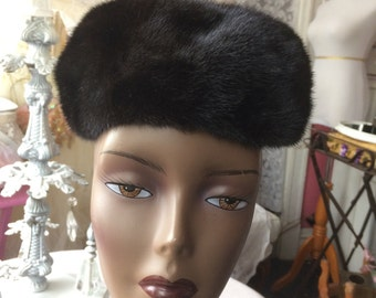 Cute Mink Pillbox Hat