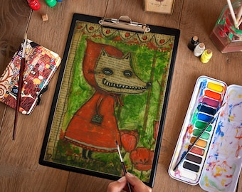 Little Red Riding Wolf - A halloween and fairy tale themed art print from an original painting by Danita Art.
