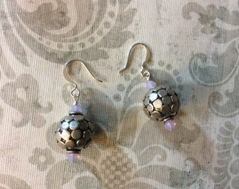 Pink crystal silver earrings, pink crystal earrings, crystal earrings, womens earrings, womens jewelry, handmade jewelry, gifts for her