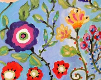 16 X 20    ORIGINAL PAINTING FLOWERS  BOHEMIAN COTTAGE