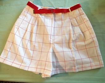Norton McNaughton white and red windowpane 60s shorts