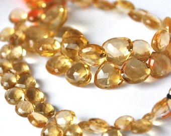 1/2 Strand - Very Finest -Citrine Faceted Heart Briolettes