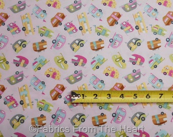 Teardrop Mini Travel Trailers Camping on Pink BY YARDS Timeless Treasure Fabric