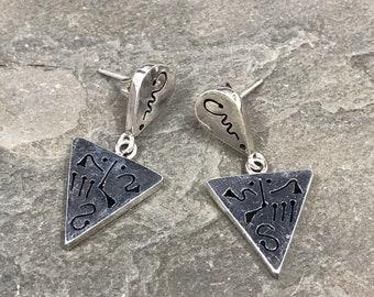 Vintage Sterling silver handmade earrings, 925 silver triangular, modernist, minimalist, stamped 925