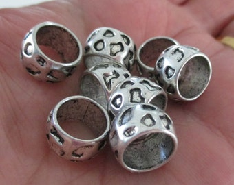 Silver Slider Spacer - Rondelle Spacer - Beads for Leather Cord - Bracelet Pewter Findings - Large Hole Beads - 13mm - Diy Supplies - 25 Pcs