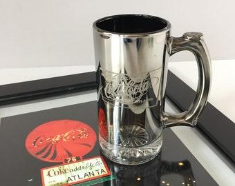 Collectible Coca Cola Mug, Vintage Silver Fade Stein, 1996 World of Coca Cola Atlanta, Bar Cart Decor, Gifts for Him, Atlanta Collectible