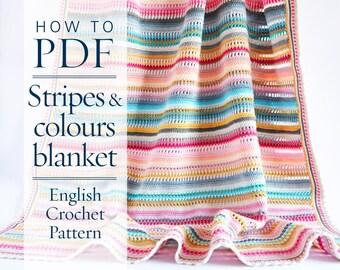 Crochet Pattern, Stripes & Colours Blanket PDF Pattern written in US terms, ready to download by CrochetObjet