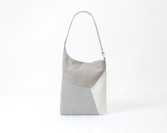 modern leather tote bag vegan, faux leather minimalist macbook tote, gray little bag