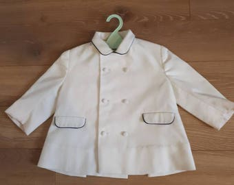 18 months to 24 months jacket coat vintage retro 1960's white smocks.