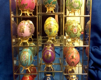 12 Faberge Eggs with rare Display Case