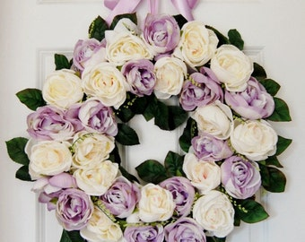 Spring Lavender and Cream Rose Front Door Wreath