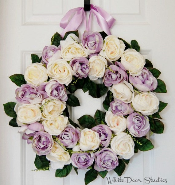 Spring Lavender and Cream Rose Front Door Wreath