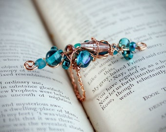Copper and teal wire wrapped statement ring