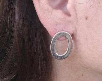 Silver Oval earrings, Oval silver earrings, Oval stud earrings, Silver earrings, Sterling earrings, Oval earrings, Oval Hoop Earrings,