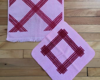 Vintage 1970s Pink Burgundy Cross Hatch Striped Terry Cloth Hand Towel Wash Face Cloth Set!