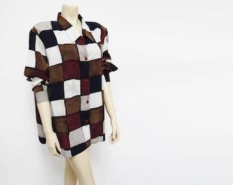 Curvy Girl Vintage Blouse, XXL, Vintage Clothing, Boho, Tomboy, Retro, Checks, Vintage Clothing