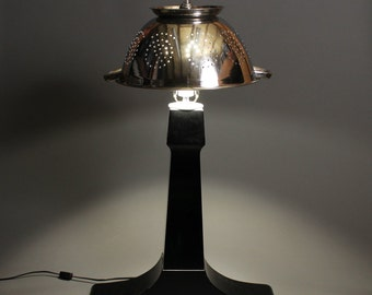Unique upcycled retro elegant musical and automotive-themed table lamp