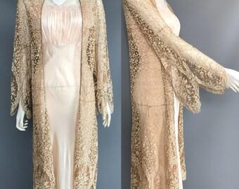 1920s 1930s lace coat/ evening coat/ wedding coat