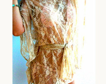 Lace bikini coverup top -Beige lace swimsuit coverup blouse- Handmade women lace beach tunic- Sexy lace loose top -Boho nude lace top