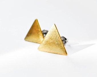 Triangle Earrings - Jewelry Geometric - Brass Triangles - Surgical Steel Earrings - Stud Earrings - Brass Jewelry