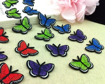10pcs 2.5x3.5cm wide green/red/purple/blue butterflies pocket embroidered appliques patches 32a579 free ship