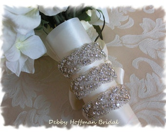 Wedding Bouquet Wrap, Rhinestone Crystal Bridal Bouquet Wrap, Jeweled Bouquet Cuff, Cuff Bracelet, Braided Bouquet Wrap Set of 3, No. 3010BW